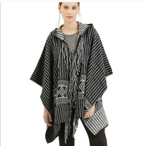 Topshop Aztec black and white poncho with hood